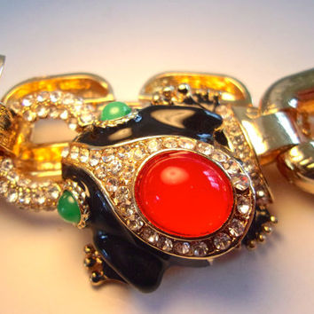 Black Enamel Frog Rhinestone Bracelet, Red Green Cabochons, Gold Plated, Vintage Couture