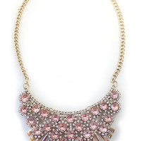 Women Shiny Rhinestone Deco Necklace