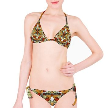 Multicolored Abstract Tribal Print Bikini