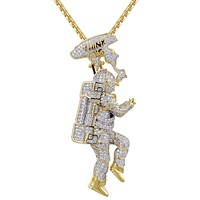 Men's Astronaut Space Man Think Big High Silver IcedOut Pendant