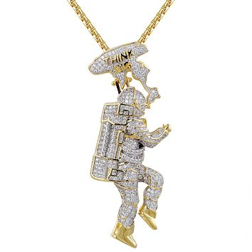Men's Custom Astronaut Space Think Big Iced Out Pendant