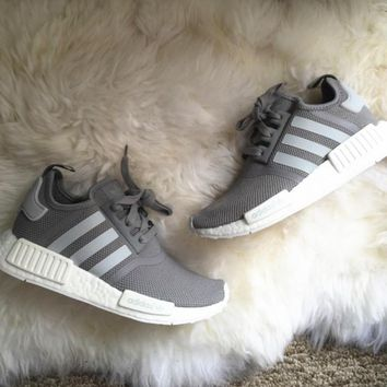 Beauty Ticks Adidas Women Fashion Running Sports Nmd Shoes Grey