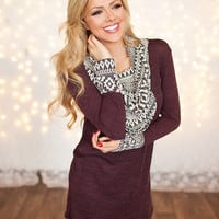 Two Tone Burgundy Aztec Cowl Neck and Cuff Tunic Top CLEARANCE