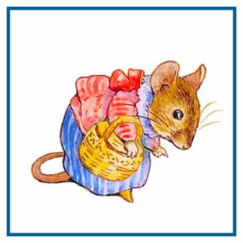 Mrs. Titlemouse Goes to Market inspired by Beatrix Potter Counted Cross Stitch or Counted Needlepoint Pattern