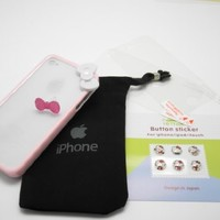 """Premium Quality (BABY PINK) iPhone 4S / 4 Bow Bumper Case Skin Cover """" With Clear Front and Back Reusable LCD Screen & Back Panel Protectors """""""