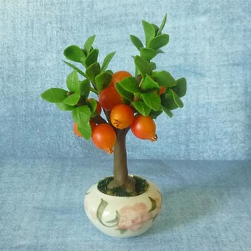 "Pomegranate fruit pot 4 1/4"" fruit tree pot/ Fake fruit/ Faux fruit/ miniature plants/ Dollhouse fruit plants/ Miniatures"