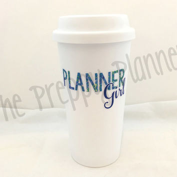 PLANNER GIRL Insulated Travel Coffee Tumbler with Lilly Pulitzer Inspired Patterns