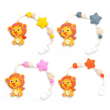 Silicone Teething Pacifier Clips Baby Lion Teether Pendant Clips Flower Beads Teething Toy Food Grade Chew Beads