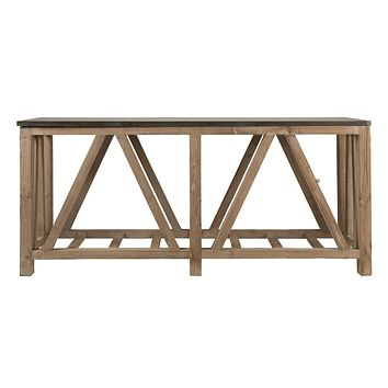 Blue Stone Console Table Blue Stone / Smoke Gray Reclaimed Wood