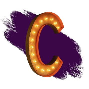 "36"" Letter C Lighted Vintage Marquee Letters (Rustic)"
