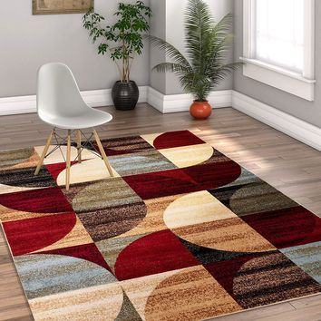7034 Red Beige Abstract Contemporary Area Rugs