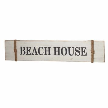 Beach House Banner Wall Sign Whitewash Rope Accents - 47-in
