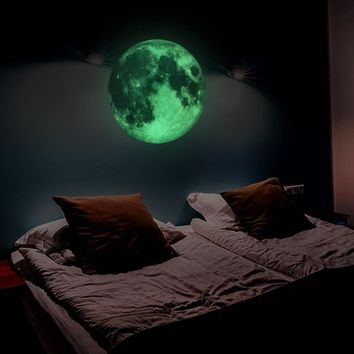30cm Large Moon Glow in the Dark Luminous DIY wall paper Living Home Decor Adesivo De Parede Vinilos Paredes wallpaper Muraux