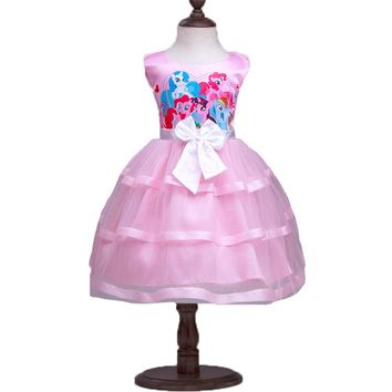 2017 My Girl Little Pony Princess Dress Kids Summer Girls Tulle Ball Gown Children's Girls Sleeveless Bow Chiffon Dress Costumes