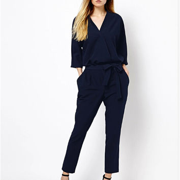 Stylish Three-quarter Sleeve V-neck Chiffon Jumpsuit One Piece [6351441540]