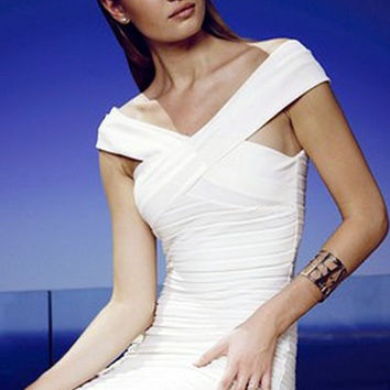 White Sleeveless V-Neckline Bardot Dress with All Over Pleats Detail