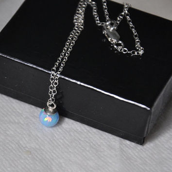6mm Opal ball pendant, Blue Opal Necklace, Chain Necklace, Gemstone Necklace, Sterling Silver,  Australian Opal, Opal Jewelry