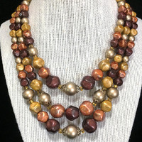 Star Graduated Lucite Bead Necklace Shades of Brown Gold Beads  Multi Strand Mid Century Vintage Beaded Jewelry, Costume Jewellery 518
