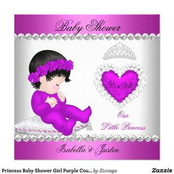 Princess Baby Shower Girl Purple Couples Invitations from Zazzle.com