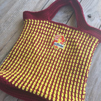 Large Crocheted Harry Potter Tote Bag, Red & Gold Stripes, Fully Lined Bag, Crochet Book Bag, Gryffindor Crest, Gryffindor bag, Harry Potter