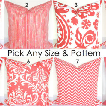 PILLOWS MIX & MATCH Any Size Pattern Coral Decorative Throw Pillows 16x16 Pillow Covers Coral Chevron Throw Pillow 16 18 Home and Living