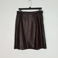 6 Vintage Chocolate Brown Leather A-Line Skirt High Waist Side Zipper, A Line Knee Length Skirt, Dark Brown Leather Skirt, Size 6, Liz Sport