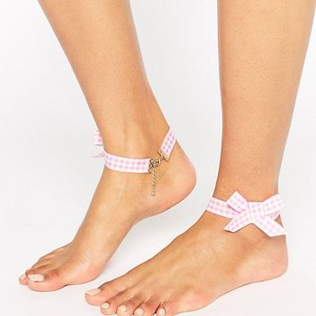 ASOS Pack of 2 Gingham Bow Anklets at asos.com