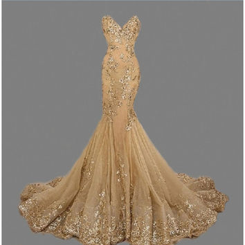 Sweetheart Mermaid Evening Dresses Long Gold Prom Dress Sequined Appliqued Pageant Gown vestido de festa robe de soiree de festa