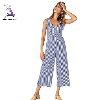 Striped Jumpsuit with elegant wide leg