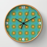 Yellow Salsify Flower Pattern Wall Clock by Peter Gross