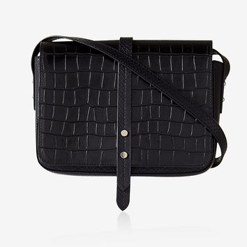 Faux Crocodile Cross Body Bag
