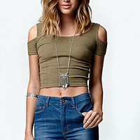 LA Hearts Ribbed Cropped Cold Shoulder Top at PacSun.com