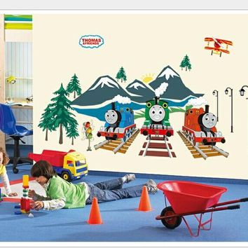 Serene 3D Thomas & Friends Cartoon The Tank Engine Glow In Dark Wall Stickers For Kids Bedroom Living Room Baby Decor 60*90cm
