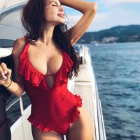 Swimsuit Hot Beach New Arrival Summer Swimwear Ruffle Sexy Backless Bikini [1934966620257]