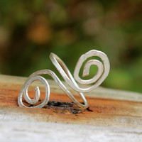 Silver Swirl One Size fits all ring, silver flat wire swirly ring