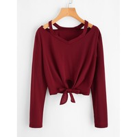 Cut Out Neck Knot Front Tee Burgundy