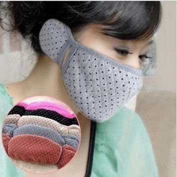New Woman Men Warmer Mouth Mask Cotton Fabric Ear Face Mask Invisible Anti Dust Masks Walking Protective