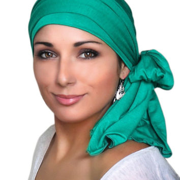 Emerald Green Jersey Turban, Head Wrap, Alopecia Scarf, Chemo Hat and Scarf Set