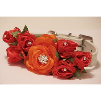 Red and Orange Wedding Floral Dog Collar, pet floral wedding