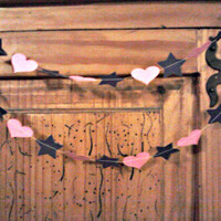 STARS and HEARTS Paper Garland for Wedding Bridal Baby Shower Birthday Party Celebration Available in Any Color 10 Feet Long STAR Banner