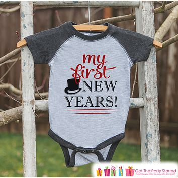Baby's My First New Year Outfit - New Year's Eve Onepiece or Shirt - Infant, Newborn, Baby's First New Years - Red Hat - Grey Baseball Tee