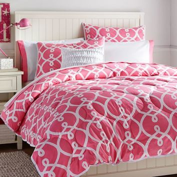 Totally Trellis Comforter + Sham, Bright Pink