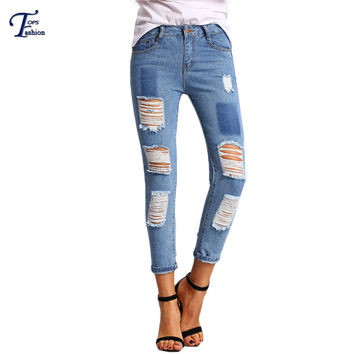 Famous Brand Slim Long Denim Pants New Arrival European Style Ladies Blue Dual Pockets Ripped Button Fly Mid Waist Jeans