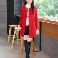 With Corsage Korean Slim and long sections woolen coat