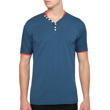 Mens Slim Fit Short Sleeve V Neck T Shirt with Button Design