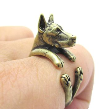 Realistic Doberman Pinscher Dog Shaped Animal Wrap Ring in Brass | Sizes 5 to 9