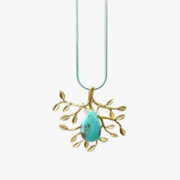 Sleeping Beauty Turquoise Stone Pendant with Matte Gold Tree Branch Adornment, December Birthstone Jewelry