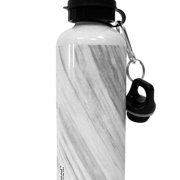 White Marble Pattern Aluminum 600ml Water Bottle All Over Print by TooLoud