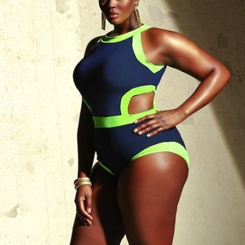 """Cabo"" Monokini Plus Size Swimsuit- Navy/Neon Green - Shop All Swimwear - Swimwear - Monif C"