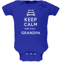 Father's Day Keep Calm & Call Grandpa Royal Soft Baby One Piece